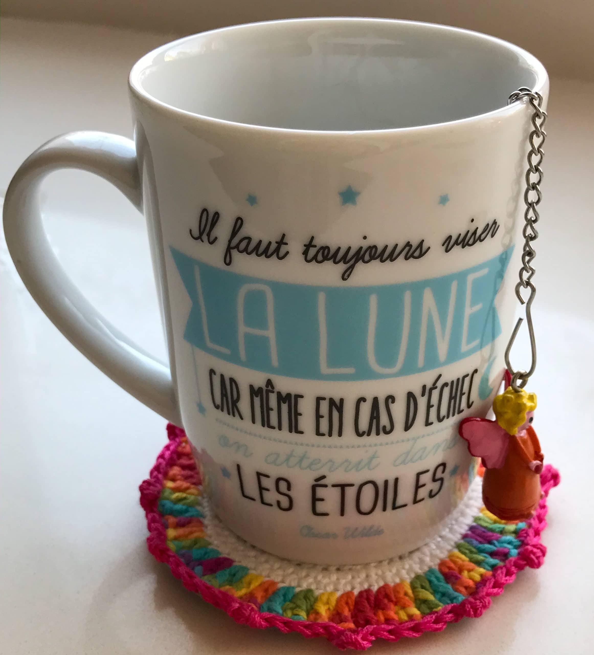 Dessous-verre crochet fil laine tasse bienveillancefab