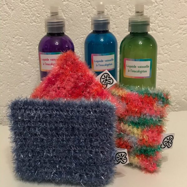 Eponge produit vaisselle crochet fil naturel bienveillancefab