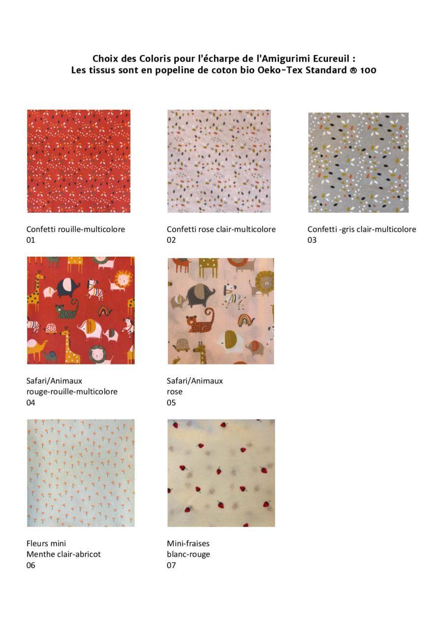 Boutique création suisse crochet choix des couleurs de tissu éco friendly pour écharpe de l'amigurimi doudou écureuil