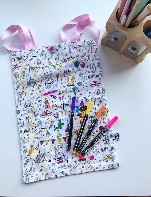 Boutique Suisse création couture, Sac à colorier enfant en tissu à colorier éco-friendly, swiss made, fait main, unique à personnaliser