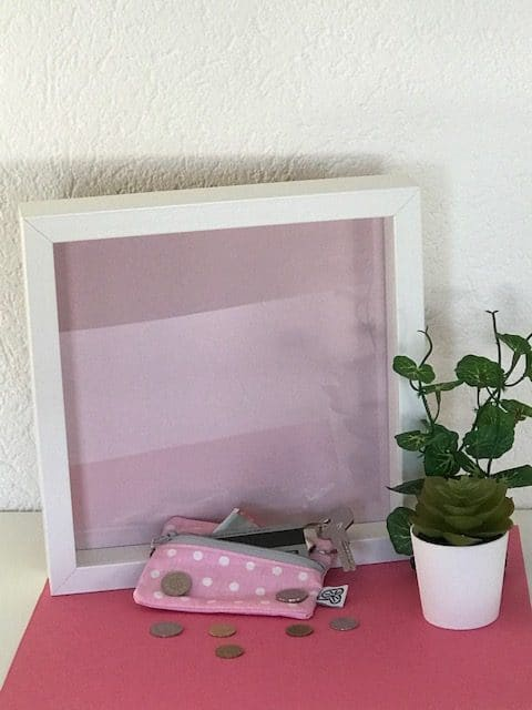 Trousse en tissu enduit rose