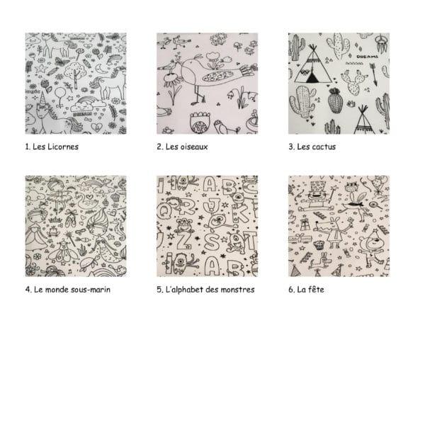 Boutique création couture suisse, Choix tissus à colorier éco friendly