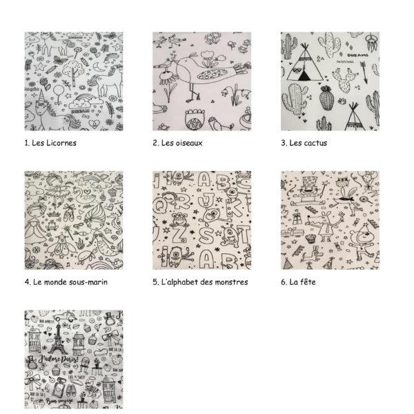 Choix des tissus à colorier pour la trousse à colorier unique, swiss made, éco friendly à personnaliser