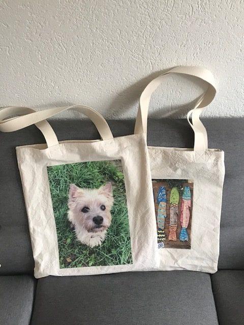 Tote bag personnalisé confectionné lors de couture de couture parent - enfant