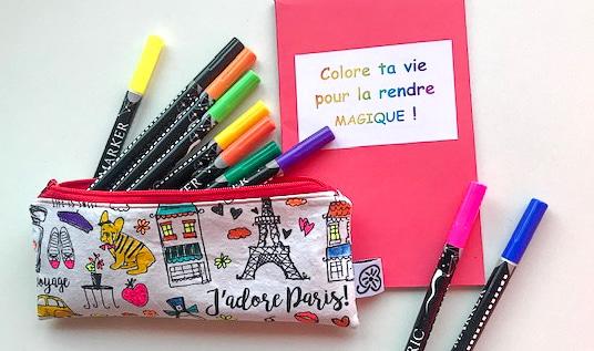 Trousse à colorier en tissu éco friendly swiss made unique personnalisable avec stylos à colorier et petit carnet
