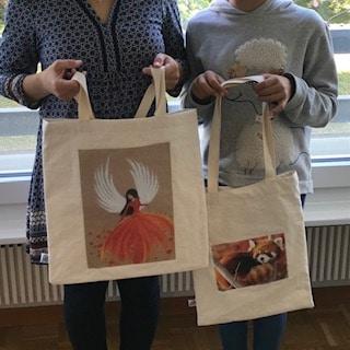 cours de couture parent - enfant   réalisation de tote bag personnalisé